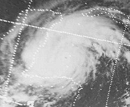Schwarz-Weiß-Aufnahme von Hurrikan Carmen nahe der Halbinsel Yucatán