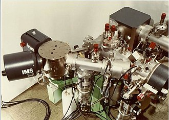 Secondary ion mass spectrometry - Old magnetic sector SIMS, model IMS 3f, succeeded by the models 4f, 5f, 6f, 7f and most recently, 7f-Auto, launched in 2013 by the manufacturer CAMECA.