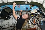 ISS-50 Peggy Whitson signs a bulkhead in the Quest airlock.jpg