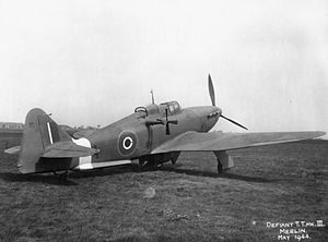 Target tug - Boulton Paul Defiant TT Mk III target tug, number N1697; RAF Desford, May 1944. Note the wind-driven generator that provided power for the target winch