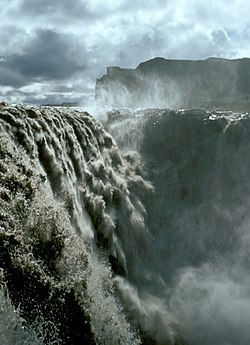 Dettifoss, the most powerful waterfall in Europe, is located in northeastern Iceland.