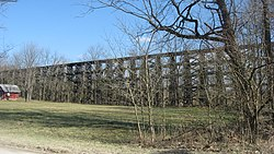 Victor's imposing railroad trestle