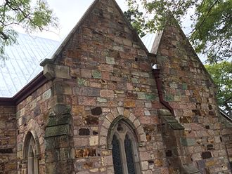 Brisbane tuff - Illustrating the many natural colours of Brisbane tuff, St Mary's Anglican Church, Kangaroo Point, 2016