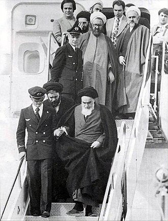 Iranian Revolution - Ruhollah Khomeini returning from France on 1 February 1979.