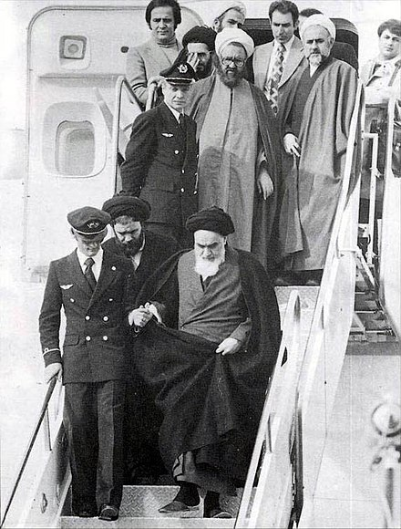 Ayatollah Khomeini returns to Iran after 14 years exile in France on 1 February 1979. Imam Khomeini in Mehrabad.jpg
