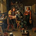 Interior of a surgery with two operators, one letting blood Wellcome V0017415.jpg