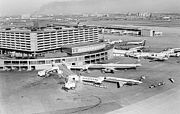 A view Toronto International Airport in 1973, showing the original Terminal 1 (now demolished)