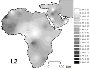 Haplogroup L2 (mtDNA) - Projected spatial distribution of haplogroup L2 in Africa.
