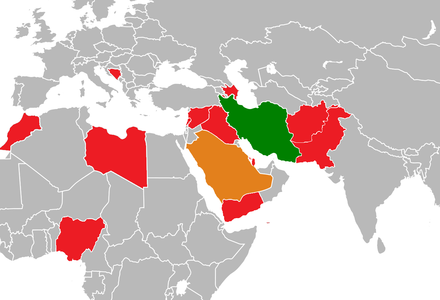 Major Iran-Saudi Arabia proxy conflict locations Iran-Saudi Arabia proxy conflict.png