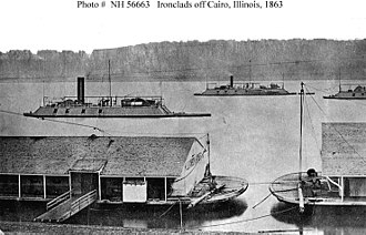 Ironclad warship - United States Navy ironclads off Cairo, Illinois, during the American Civil War.