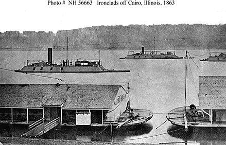 United States Navy ironclads off Cairo, Illinois, during the American Civil War. Ironclads off Cairo, Illinois.jpg