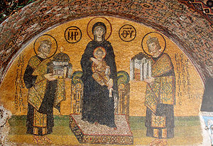 Mise en abyme - Southwestern entrance mosaic of Hagia Sophia in Constantinople, depicting both Hagia Sophia itself and Constantinople, both offered to Jesus and the Virgin Mary