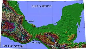 Isthmus of Tehuantepec - Map showing the relief of the isthmus
