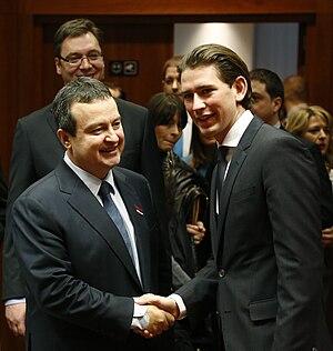 2014 Conference of Western Balkan States, Berlin - Image: Ivica Dacic & Sebastian Kurz