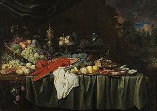 Stilleven met kreeft en fruit