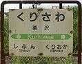 JR Muroran-Main-Line Kurisawa Station-name signboard.jpg