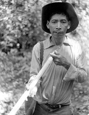 Jakaltek people - A Jakaltek holds a clay pellet between his lips as he prepares to insert it into his blowgun in Guatemala.