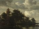 Jacob van Ruisdael - A Woodland landscape with figures by a river.jpg