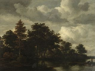 Woodland landscape with figures by a river