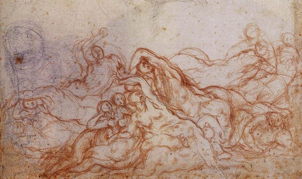 Jacopo Pontormo - Study for Deluge (portion of sheet) - WGA18142