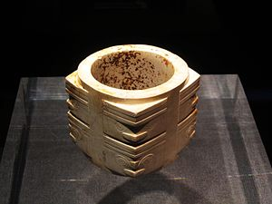 Liangzhu Museum - A jade cong excavated from the Yaoshan site