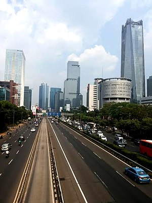 Golden Triangle of Jakarta - Gatot Subroto Avenue, which runs east-west of Golden Triangle