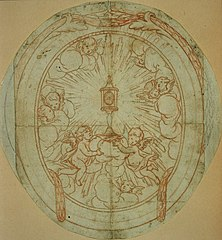 Oval modello with monstrance supported by two putti
