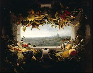 Jan Anton van der Baren - Seascape within a garland of fruit