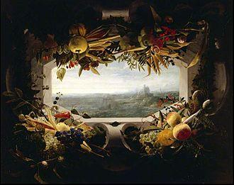 Jan Anton van der Baren - Seascape within a garland of fruit