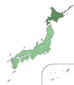 האי הוקאידו (בצבע ירוק כהה במפה)