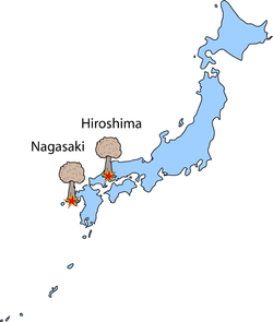Map showing the locations of Hiroshima and Nagasaki, Japan where the two atomic weapons were employed.