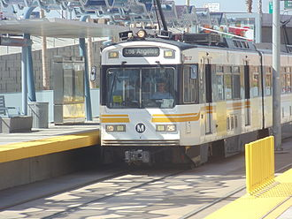 Jefferson/USC station - Expo Line train arriving at the station.
