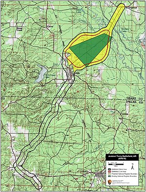 Map of Jenkins' Ferry Battlefield core and study areas by the American Battlefield Protection Program