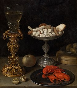 Jeremias van Winghe - A roemer on a silver-gilt bekerschroef, sweetmeats in a silver tazza, langoustines on a plate.jpg