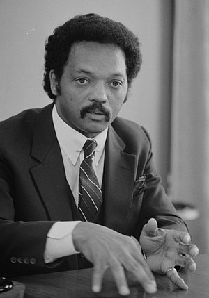 {{w|Jesse Jackson}} speaking during an intervi...