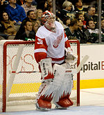 Jimmy Howard on the ice, upright in front of his net