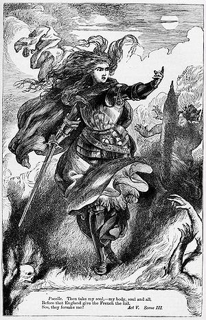 Henry VI, Part 1 - H. C. Selous's illustration of Joan's fiends abandoning her in Act 5, Scene 3; from The Plays of William Shakespeare: The Historical Plays, edited by Charles Cowden Clarke and Mary Cowden Clarke (1830)