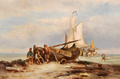 Johannes Hermanus Barend Koekkoek - Beach scene with fishermen resting at a boat.png