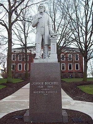 John R. Buchtel - Statue of John R. Buchtel in front of Buchtel Hall