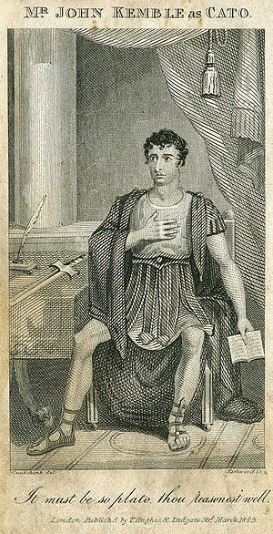 Joseph Addison - The actor John Kemble in the role of Cato in Addison's play, which he revived at Covent Garden in 1816, drawn by George Cruikshank.