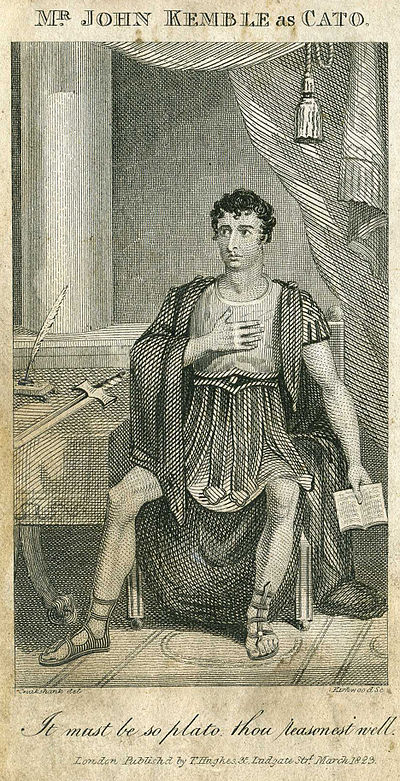 The actor John Kemble in the role of Cato in Addison's play, which he revived at Covent Garden in 1816, drawn by George Cruikshank. John Kemble as Cato.jpg