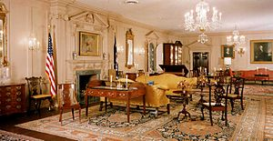 Clement Conger - John Quincy Adams State Drawing Room, Diplomatic Reception Rooms, U.S. Department of State. Conger assembled most of this furniture and art.