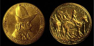 Palaiologos - Medal of John VIII Palaeologus, on a Renaissance medal by Pisanello who saw the Emperor at Ferrara.