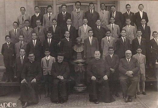Jorge Mario Bergoglio (fourth boy from the left on the third row from the top) at age 12, while studying at the Salesian College (c. 1948-49) Jorge Mario Bergoglio attended a salesian school between 1948 and 1949.jpg