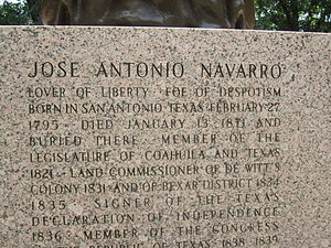 "José Antonio Navarro - Inscription on base of statue depicts Navarro as a ""Lover of Liberty"" and a ""Foe of Despotism."""