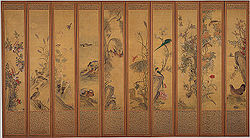 Joseon-Birds and Flowers-folding screen-late.19c.jpg