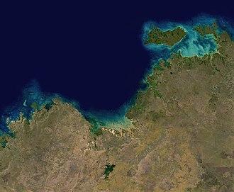 Joseph Bonaparte Gulf - A satellite image of Joseph Bonaparte Gulf, from NASA - Cambridge Gulf is at the bottom of the gulf