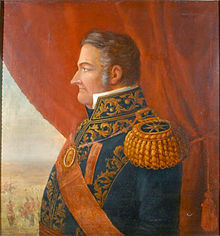 Painting depicting a heavy-set man in profile who wears an elaborately embroidered military uniform with sash and large epaulets