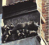 """Schem Hamphoras"" and Judensau or ""Jew's Sow"" on the Wittenberg Church"