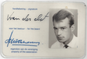 KLM Flight 867 - Captain Karl van der Elst / Front Dutch pilot association membership card